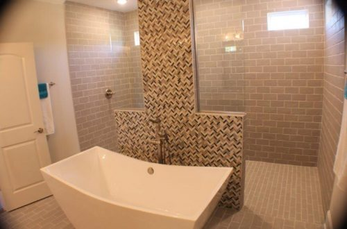Winslow Homes custom bathroom with a huge walk in shower