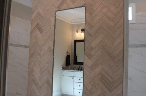 a mirror in a bathroom