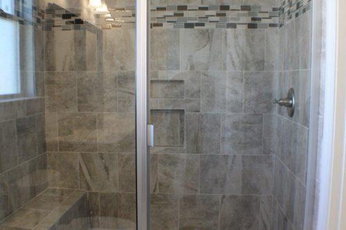 a tile shower