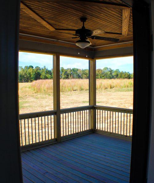 an empty screen porch