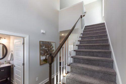 a carpet staircase