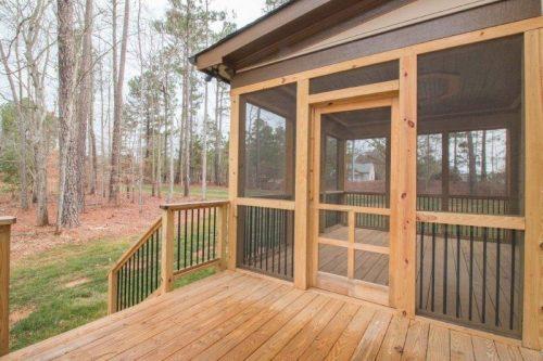 unpainted wood patio